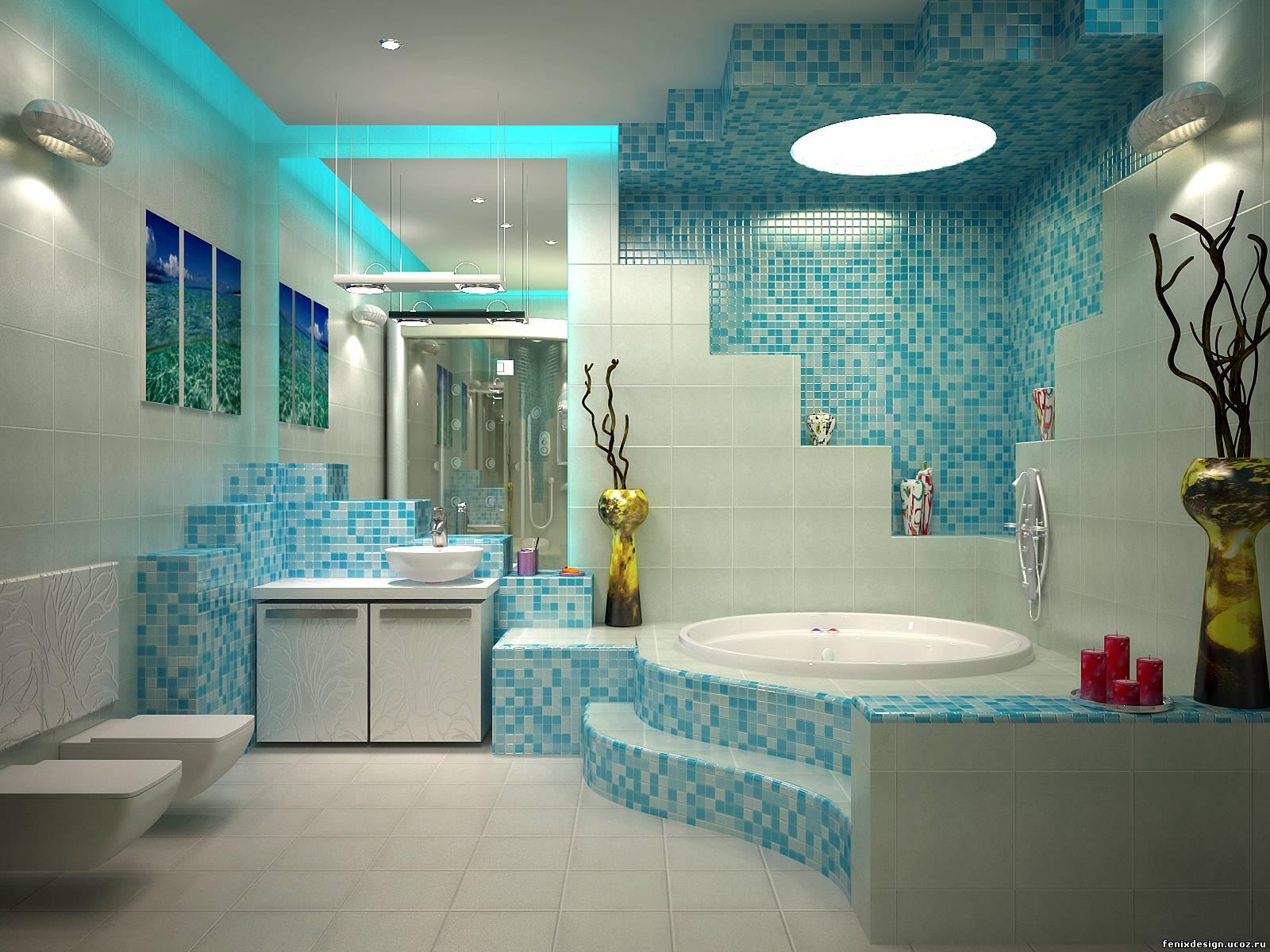 Бирюзовая ванная комната дизайн